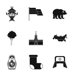 Country russia icons set simple style vector