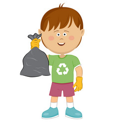 cute little boy with trash bag cleaning concept vector image