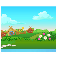 cute poster with wooden country houses grassy vector image
