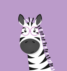 Cute zebra with glasses poster for baby room vector