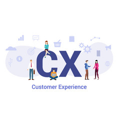 Cx customer experience concept with big word or vector