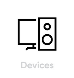 devices icon editable stroke vector image