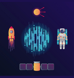 digital planet rocket astronaut satellite vector image