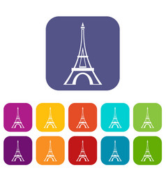 Eiffel tower icons set vector