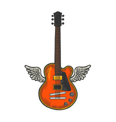 electric guitar with wings sketch engraving vector image