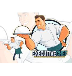 Executive chef serving food vector