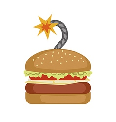 Fast food Burger with bomb cord vector