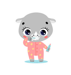Flat doodle cute cartoon rhino brushing teeth vector