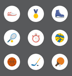 flat icons volleyball reward shoes and other vector image