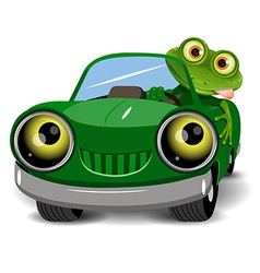 Frog in the car vector