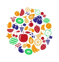 Fruit theme color various fruits simple icons in vector