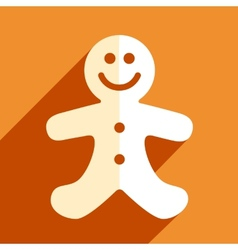 Gingerbread man christmas flat icon vector image