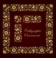 golden ornamental corners borders and frames vector image