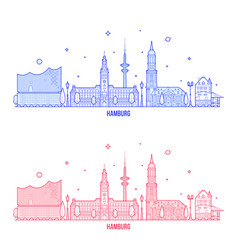 hamburg skyline germany city buildings vector image