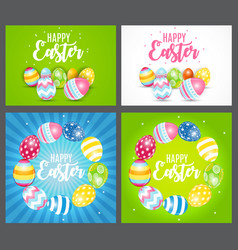 happy easter cute background with eggs collection vector image