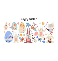 happy easter set cute flower rabbits isolated vector image