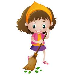Happy girl sweeping leaves vector