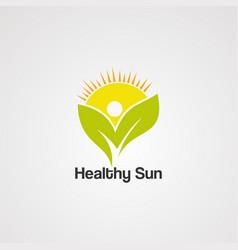 healthy sun logo iconelementand template vector image