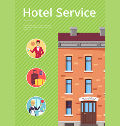 hotel services in circles near building poster vector image