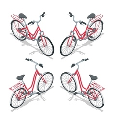 Isometric flat womens bicycle Stylish womens pink vector