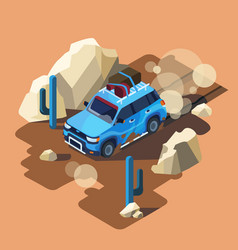 Isometric safari car desert landscape vector