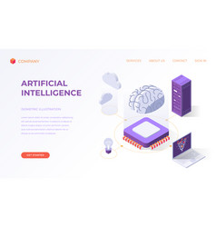landing page for computer artificial intelligence vector image