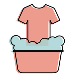 laundry pot with shirt vector image