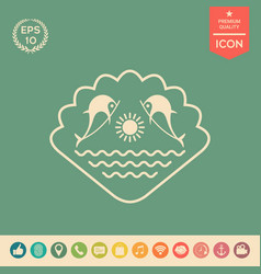 logo - dolphins with the sun and the sea - on the vector image