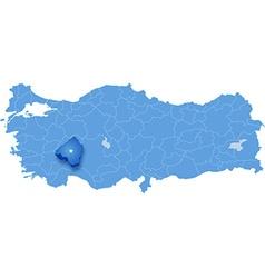 Map of Turkey Isparta vector