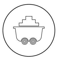 mine cart or trolley of coal icon black color in vector image