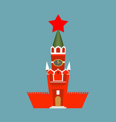 moscow kremlin cartoon style isolated spasskaya vector image