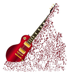 Musical notes fragmenting guitar vector