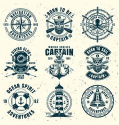 nautical set nine vintage style emblems vector image