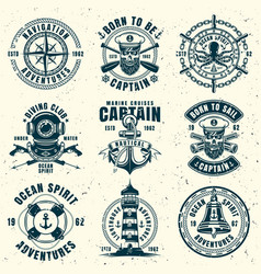 Nautical set of nine vintage style emblems vector