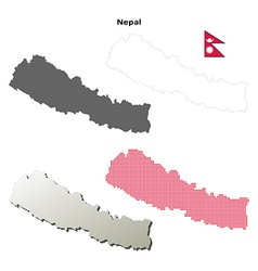 Nepal outline map set vector image