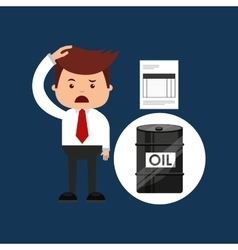 Oil and petroleum industry sad businessman finance vector