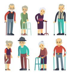 Old people cartoon characters set senior vector