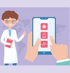 Online doctor hands with smartphone covid 19 vector