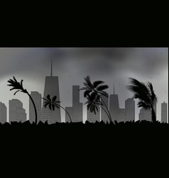 palm trees during storm and hurricane leaves fly vector image