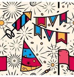 Party celebration with fireworks seamless pattern vector image
