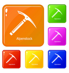 pickaxe icons set color vector image