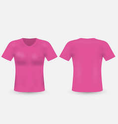 pink v-neck t-shirt template mens short sleeve vector image