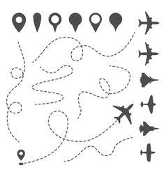 plane line path airplane directional pathway map vector image