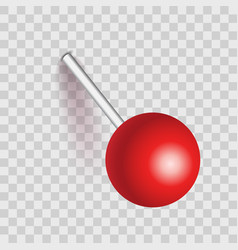 Plastic pushpin pin with shadow isolated on vector