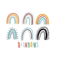 Rainbow set childish print vector