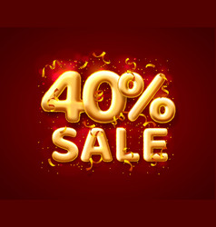 sale 40 off ballon number on red background vector image
