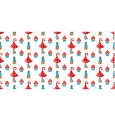 Seamless childish pattern amanita mushrooms vector