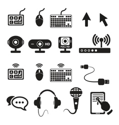 Set computers and hardware icons vector