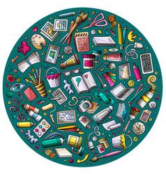 Set designer cartoon doodle objects symbols vector