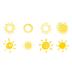 Set of doodle sun isolated on white background vector